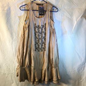 Zara 100% silk beaded dress Sz S